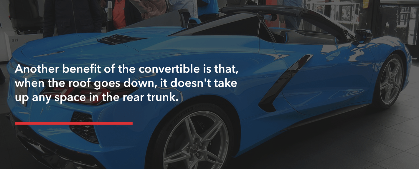 The C8 Corvette convertible model's retractable roof doesn't take up any space in the rear trunk