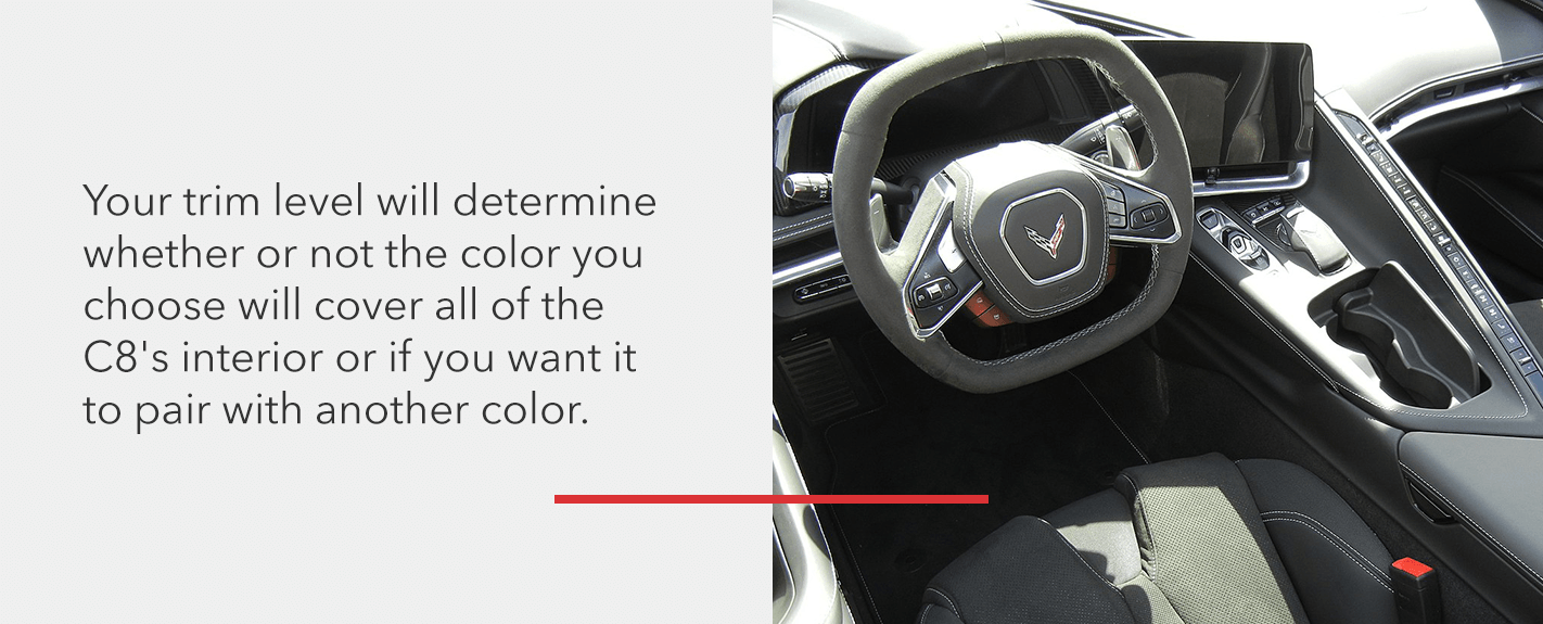 Your C8 Corvette's trim level will determine the interior color layout options