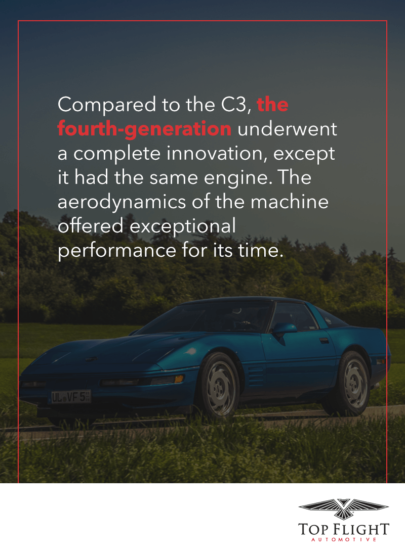 The C4 corvette underwent a complete innovation, except it had the same engine