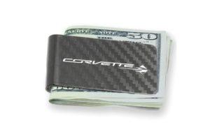 Corvette carbon fiber money clip holding 50 dollar bils